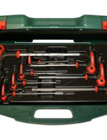 T-nyelű gömbvégű imbuszkulcs készlet kofferben